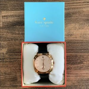 Kate Spade Women's Watch (Rose Gold/Black Leather)